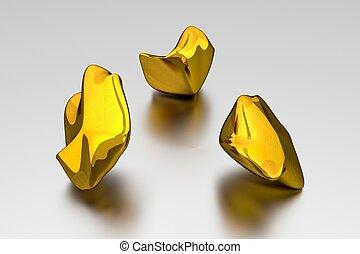 klumpen, gold, -, 3d, begriff