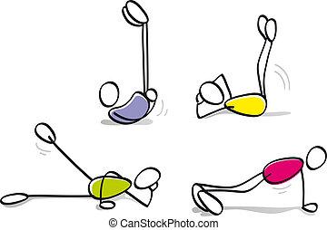 knaben, lustiges, fitness