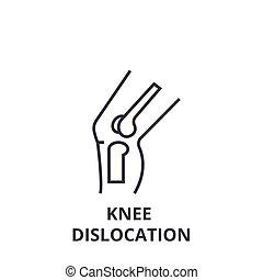 Knee dislocation dünne Linie Icon, Zeichen, Symbol, Illustration, lineares Konzept, Vektor.