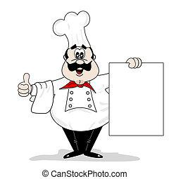koch, karikatur, küchenchef