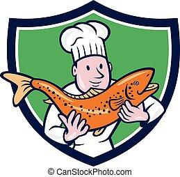 Koch mit Forellenfischschild-Cartoon.