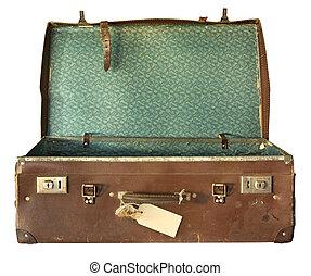 koffer, rgeöffnete, weinlese