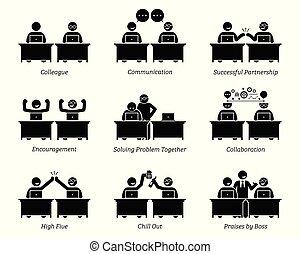 Kollegen und Geschäftspartner arbeiten effizient am Arbeitsplatz zusammen.