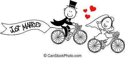 Komische Braut und Bräutigam auf Rädern.