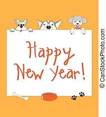 Komische neue Jahr-Orange-Karte mit Zeichentrickhunden