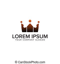 Kommunikationsgruppe Leute Logos. Crown Logo Design Konzept Vorlage