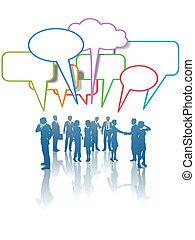 Kommunikationsmedien-Geschäfte reden über Farben