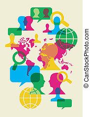 Kommunikationssymbole des sozialen Netzwerks