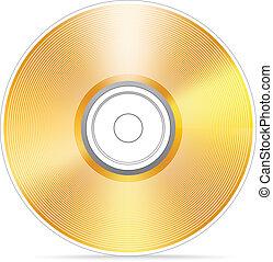 kompakt, goldenes, scheibe, illustra, vektor