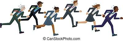 konkurrenz, begriff, geschäftsmenschen, rennen, rennender
