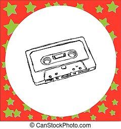 Konpact Audio Kassetten-Vektorgrafik-Zeichnung gezeichnet mit schwarzen Linien, isoliert auf weißem Hintergrund. Vintage Retro-Konzept