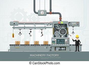 konstruktionsausrüstung, technik, vektor, fabrik, industrie, maschine, abbildung
