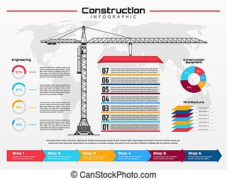 konstruktionskran, infographics, gebäude