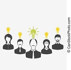 Konzept der Führung und neue Idee. Geschäftsleute mit Licht B