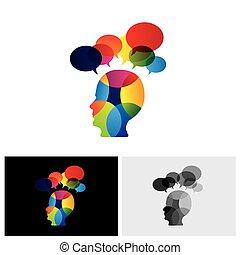 Konzept von buntes Gesicht mit Puzzlen, Fragen, Zweifeln, Ideen