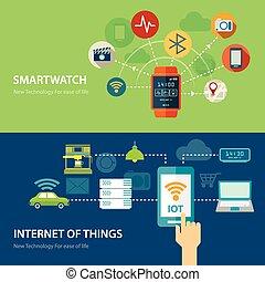 Konzepte für intelligente Uhr und Internet von Dingen flaches Design.