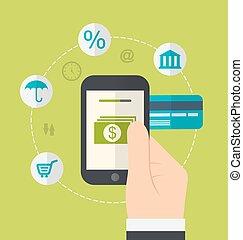 Konzepte von Online-Zahlungsmethoden. Icons für Online-Zahlung Gateway, elektronische Fonds, flaches Design
