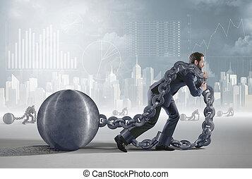 Konzeptuelles Bild mit einem müden Schuldner.