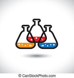 Konzipieren Sie Vektorgrafik, abstrakter, farbenfroher medizinischer Laborbeaker Icon(sign). Die Illustration ist Ausdruck von Begriffen der Entdeckung von Drogen, biotechnologischer Forschung, chemischen Reaktionen usw