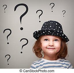 kopf, fragen, denken, viele, auf, schauen, oben, m�dchen, kind, hut, glücklich
