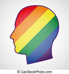 Kopf mit einer schwulen Flagge.