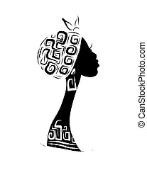 kopf, silhouette, verzierung, design, weibliche , ethnisch, dein