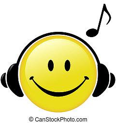 kopfhörer, merkzettel, musikalisches, glücklich, musik