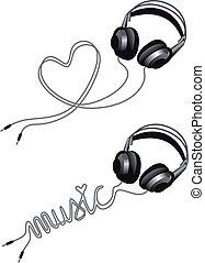 Kopfhörer mit Herz, Vektor