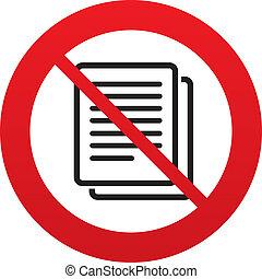 kopie, nein, symbol., zeichen, duplikat, datei, icon., dokument