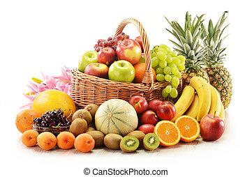 korb, korbgeflecht, früchte, zusammensetzung, gemischt
