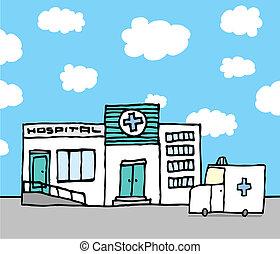 Krankenhaus und Krankenwagen.
