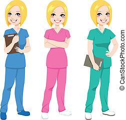 krankenschwester, posierend, glücklich