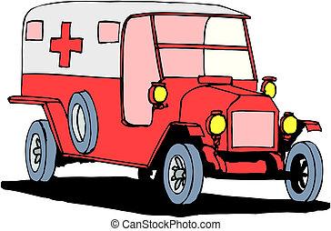 Krankenwagen auf weißem Hintergrund