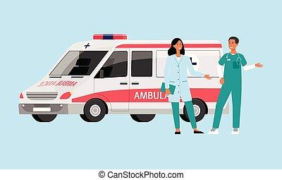 krankenwagen, doktor, nächste, auto, personal, stehende , ihm, sanitäter