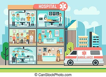 krankenwagen, medizin, healthcare, vektor, klinikum, patienten, gebäude, wohnung, abbildung, doktoren, klinik
