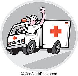 Krankenwagen-Notfallwagenfahrer winken.