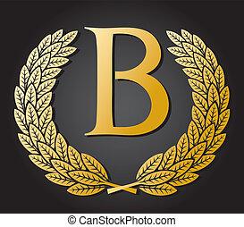 kranz, gold, brief, lorbeer, b