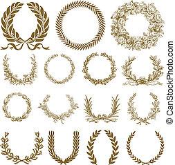 kranz, lorbeer, satz, bronze, vektor