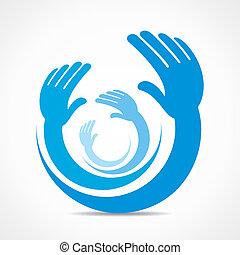 kreativ, hand, ikone, begriff