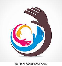 kreativ, hand, ikone, design