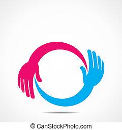 kreativ, hand, ikone