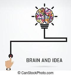 Kreative Gehirn-Idee und Glühbirnen-Konzept