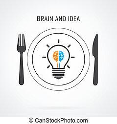 Kreative Glühbirne Idee und Hirnkonzept Hintergrund