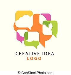 Kreative Idee Logo-Vorlage mit abstrakten bunten überlappenden Sprachblasen Icons. Die Leute denken nach. Vector isoliert auf weiß