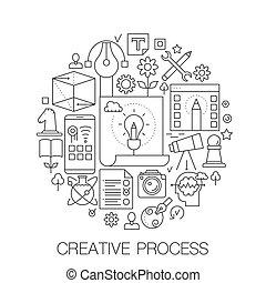 Kreativer Prozess im Kreis - Konzeptlinie Illustration für Cover, Emblem, Marke. Kreativität dünne Strich-Symbole gesetzt.