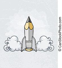 Kreatives Designkonzept mit Stiftwerkzeug als Rakete