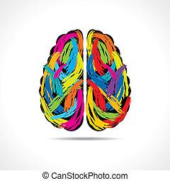 Kreatives Gehirn mit Farbstrichen