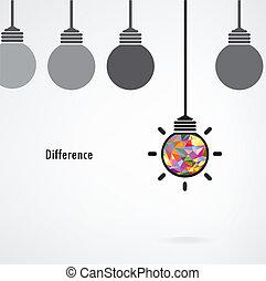 Kreatives Glühbirnenzeichen, Geschäftsidee, Bildungshintergrund, Differenzkonzept.vector Illustration