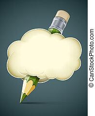 Kreatives künstlerisches Konzept, Stift in Wolke