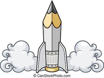 Kreatives Konzept Bleistift als Rakete